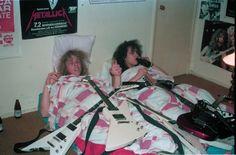 James Hetfield and Kirk Hammett at Hammett's mom's house in El Sobrante, CA.