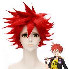 Trendy Fluffy Red Short Synthetic Charming Straight Touken Ranbu Aisen Guojun Cosplay Wig