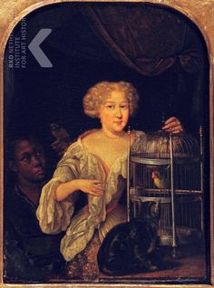 Eglon van der Neer Portret van een onbekende vrouw, met een bediende, ca. 1677-1683