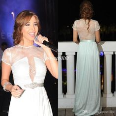 2016 Inspired by Nancy Ajram Arabic Dubai Evening Dresses with Short Sleeves Chiffon Beaded Sheer Lace Back Celebrity Party Gowns Prom Dress Online with $106.16/Piece on Sweet-life's Store | DHgate.com