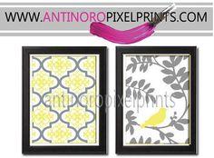 Yellow Grey White Damask Bird Wall Art Vintage / Modern Inspired -Set of 2 - 8x10 Prints -  (UNFRAMED) on Etsy, $30.00
