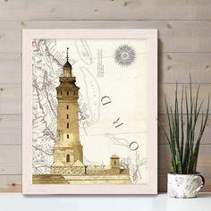 Lighthouse print - Lighthouse on rock on Nautical Map print - lighthouse art lighthouse decor Nautical print Nautical Wall Decor fathers day