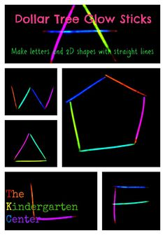 Use Dollar Tree Glow Sticks to Practice Letter and Shape Formation (great for Kindergarten math shapes standard! Kindergarten Centers, Kindergarten Literacy, Kindergarten Classroom, Classroom Ideas, Teaching Tools, Teaching Math, Teaching Ideas, Autism Teaching, Teaching Letters