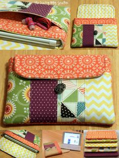 iPad sleeve case clutch sewing pattern - pocket - PDF