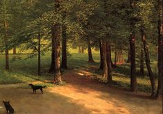 Call of the Wild by Albert Bierstadt. Luminism. wildlife painting. Private Collection