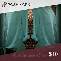 Sheer Beauty by Lei This Turquoise Goodness is so Pretty. Make it yours!  Thanks for stopping by my Posh Closet. please come again soon.  Caio lei Tops Button Down Shirts