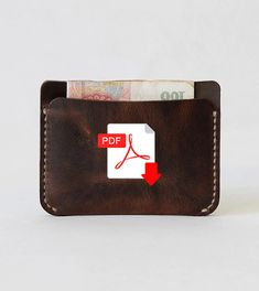 Slim Card Holder / Leather Card Case / Cash Card Holder Template Pdf template A4 Size