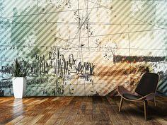 Grunge Urban Style wall mural room setting