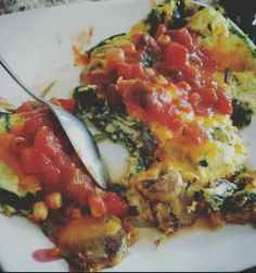 Spinach cheese and salsa Omlete
