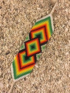 off loom beading Loom Bracelet Patterns, Bead Loom Bracelets, Bracelet Crafts, Bead Loom Patterns, Friendship Bracelet Patterns, Beading Patterns, Native Beadwork, Native American Beadwork, Native American Patterns