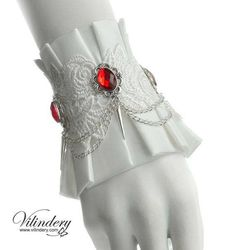 White winter cuff with a red crystals - Snow white bracelet, Victorian wedding jewelry, Fantasy wrist decor, spikes bracelet, Romantic cuff Mode Mori, Spike Bracelet, Bangle Bracelet, Jewelry Bracelets, Cool Outfits, Fashion Outfits, Fantasy Jewelry, Goth Jewelry, Red Jewelry