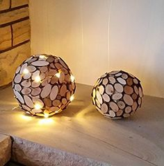 Naturholz Kugeln Lichtertraum, Bastelset Wood Log Crafts, Wood Slice Crafts, Deco Jungle, Wood Mosaic, Small Wood Projects, Branch Decor, Wood Lamps, Wood Slices, Home And Deco