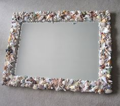 Seashell Mirrors For Beach Decor - Nautical Decor Shell Mirror In Natural Or All White, Lg Rectangular Seashell Frame, Seashell Crafts, Seashell Art, Starfish, Coastal Christmas Decor, Coastal Decor, Beach Mirror, Wall Mirror, Mirror Mosaic