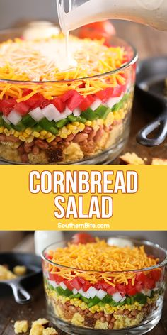 This Southern Cornbread Salad is the perfect recipe to take to your next potluck or family gathering. It's layered cornbread and veggies topped with a delicious ranch dressing! Southern Cornbread Salad, Cornbread Salad Recipes, Layered Cornbread Salad, Mexican Cornbread Salad, Southern Salad, Mexican Food Recipes, Dinner Recipes, Pasta, Perfect Food