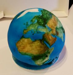 Earth cake. Airbrushed and painted with edible paint