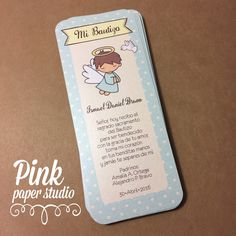 Baptism Favor Cards • Bookmark • Baptism Angel Boy • Recuerdo de Bautizo Niño