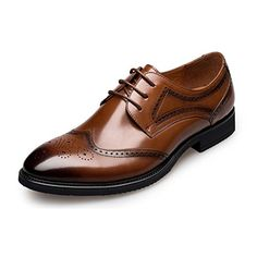 KANGNAI Men's Oxfords Shoes Genuine Leather Lace up Brogue Dress Shoes (7, Brown)