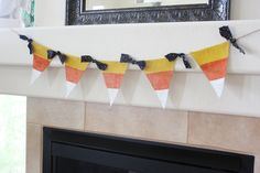Halloween Burlap Pennant Banner Bunting Painted Candy Corn