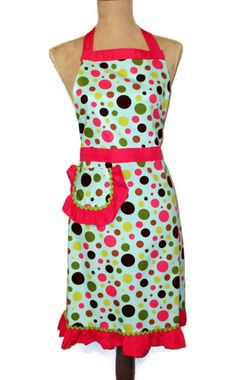 Multicolor Polka Dot Full Apron - Hot Pink Lime Green Accents - Adult #apron #fullapron #kitchen