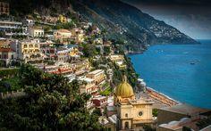 Download wallpapers Amalfi, Summer, sea, tourism, Italy, Campania, Amalfi Coast, Positano, Gulf of Salerno
