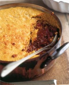 Cornbread-Topped Chilli Con Carne: There are few more welcome sights than a big vat of chilli.  The cornbread topping is a glorious golden touch, that everyone can crumble into the spiced meat as they eat, for ballast and crunchy contrast.  It makes your life easier and the chilli better if you make the meat up in advance, adding the topping and baking the lot just before you serve.