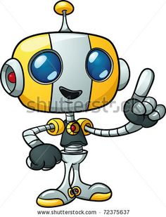 Cute cartoon robot holding finger up. Vector illustration with simple gradients. All in a single layer. by Memo Angeles, via ShutterStock
