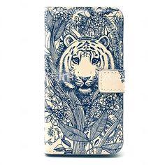 tatuaggio tiger modello animale di cuoio dell'unità di elaborazione caso il corpo con slot per schede per i9600 samsung galaxy s5 - EUR €6.64