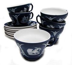 Wedgwood Jasperware Dark Blue Teacups & Saucers from Woodstock Antiques