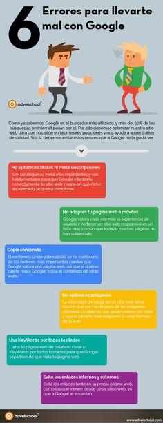 6 errores de SEO que no van a gustar a Google. Infografía en español. #CommunityManager.