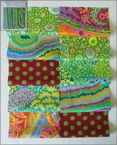 Kaffe Fassett Fabric Material Squares Greens x 10 10cm Quilting Patchwork Craft