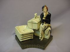 Vintage 1930s Deco Figurine Stylish Lady Traveler w Her Dog Cigarette Box