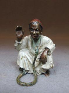 Vienna bronze Orientalist man & snake sculpture
