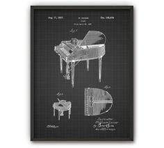 Flügel-Patent-Print Music Wand Kunst Poster Klavier