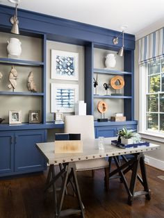 Tiny Home Office Design Ideas. Therefore, the requirement for home offices.Whether you are planning on adding a home office or restoring an old room right into one, here are some brilliant home office design ideas to aid you get going. Blue Home Offices, Home Office Space, Home Office Furniture, Home Office Decor, Home Decor, Small Office, Sunroom Office, Furniture Nyc, Furniture Removal