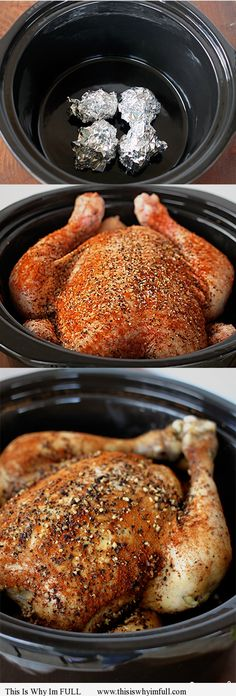 WOW! Yes!Whole Chicken Slow Cooker Recipe. I put this in for exactly 4 1/2 hours on high and it fell off the bone just trying to take it out of the crock pot. DELICIOUS!