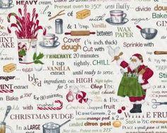 Patchworkstoff HOLLY JOLLY CHRISTMAS mit weihnachtlichen Küchen-Motiven und Schrift, weinrot-grün-weiß