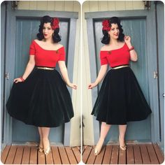Vintage Tea Length Prom Dresses With Short Sleeves 2018 Red Top and Black Audrey Hepburn A Line Formal Evening Dress Party Gown Retro Outfits 1950s, Vintage 1950s Dresses, Vintage Style Outfits, Vintage Inspired Fashion, Retro Fashion, Vintage Fashion, Dress Dior, Pinup Girl Clothing, Pin Up Outfits