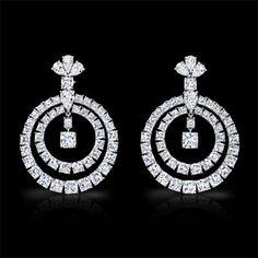 Cushion Cut and Pear Shape Diamond Earrings