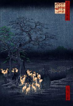 Ando Utagawa Hiroshige - New Year's Eve Fox Fires at the Changing Tree