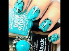 ▶ Turquoise featuring Picture Polish Fool's Gold - YouTube - water marble with alcohol