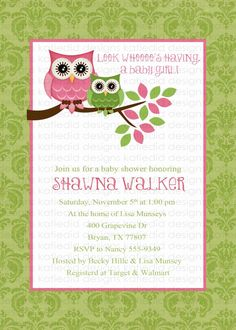 owl baby shower invitations, baby girl, owl with damask background, digital, printable file (item 1317). $13.00, via Etsy.