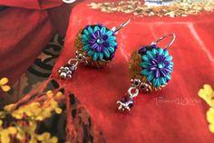SALE-Filigree polymer clay earrings Dangling Amethyst bead