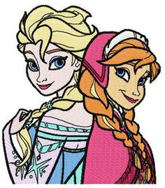 Anna and Elsa together 2 machine embroidery design