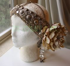 Art Nouveau Headdress Gold Giant Floral Mucha by theverdantmuse