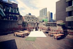 Melbourne Rooftop wedding at The Order of Melbourne, 401 Swanston St Melbourne. Their website seems to be having a hissy fit at the moment so venue information is scant. Wedding Reception Backdrop, Wedding Ceremony, Wedding Bells, Wedding Venues Melbourne, Planners, Rooftop Wedding, Creative Wedding Ideas, Wedding Locations, Event Venues