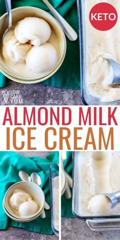 An easy dairy free ice cream recipe with almond milk. It's a keto dairy free dessert easy to make for low carb treats. An easy dairy free ice cream recipe with almond milk. It's a keto dairy free dessert easy to make for low carb treats. Almond Ice Cream, Low Carb Ice Cream, Dairy Free Ice Cream, Almond Milk Ice Cream Recipe Vanilla, Cake Recipe With Almond Milk, Almond Milk Popsicles, Healthy Ice Cream, Vegan Ice Cream, Almond Milk Recipes