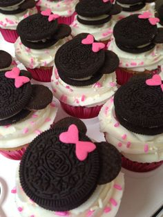Oreo Minnie Mouse Cupcakes (Mickey ones for my boy of course) *These turned out perfect!!! I used little butterfly candy as the bow, and they look adorable!