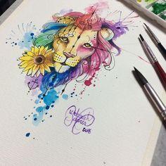 "262 curtidas, 13 comentários - Deborah Deh Soares (@dehtattoo) no Instagram: ""Watercolor Lion and sunflower. Instagram hashtags #tattoo #tattoos #tatuagem #tatuaje…"""