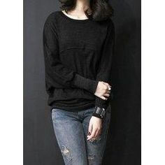 trendsgal.com - Trendsgal Scoop Neck Long Batwing Sleeve Solid Color Loose Fitting T Shirt - AdoreWe.com