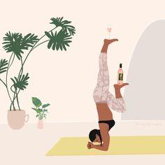 Positive Art, Body Positive, Yoga Illustration, Digital Illustration, Art Positif, Namaste, Art Du Vin, Yoga Background, Wine Art